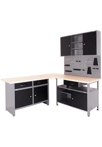 ONDIS24 Werkstatt-Set »Basic One«, 2x Werkbank, 1x Werkstattschrank, 3x Lochwand kaufen