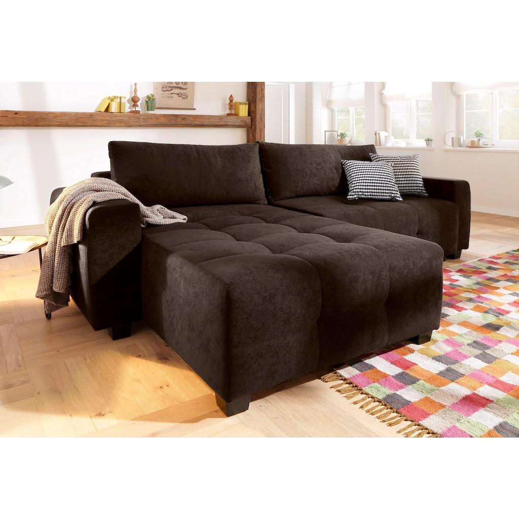 Home affaire Ecksofa »Bella«, wahlweise mit Bettfunktion und Bettkasten, Steppung im Sitzbereich