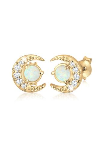 Elli Paar Ohrstecker »Halbmond Geo Opal Kristalle 925 Silber« kaufen
