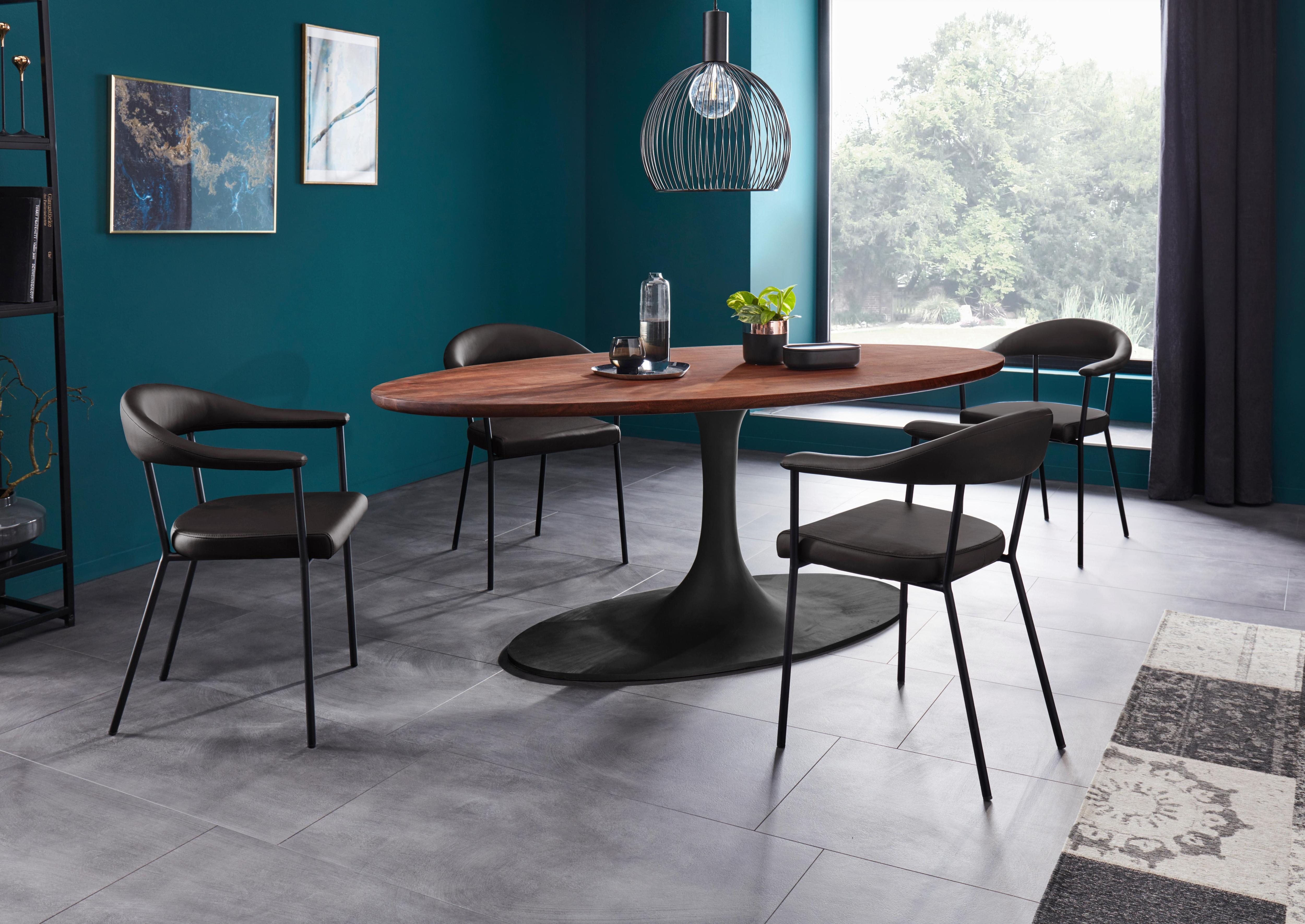 Places Of Style Esstisch Riis aus massivem Akazienholz und Metall in elegantem Design