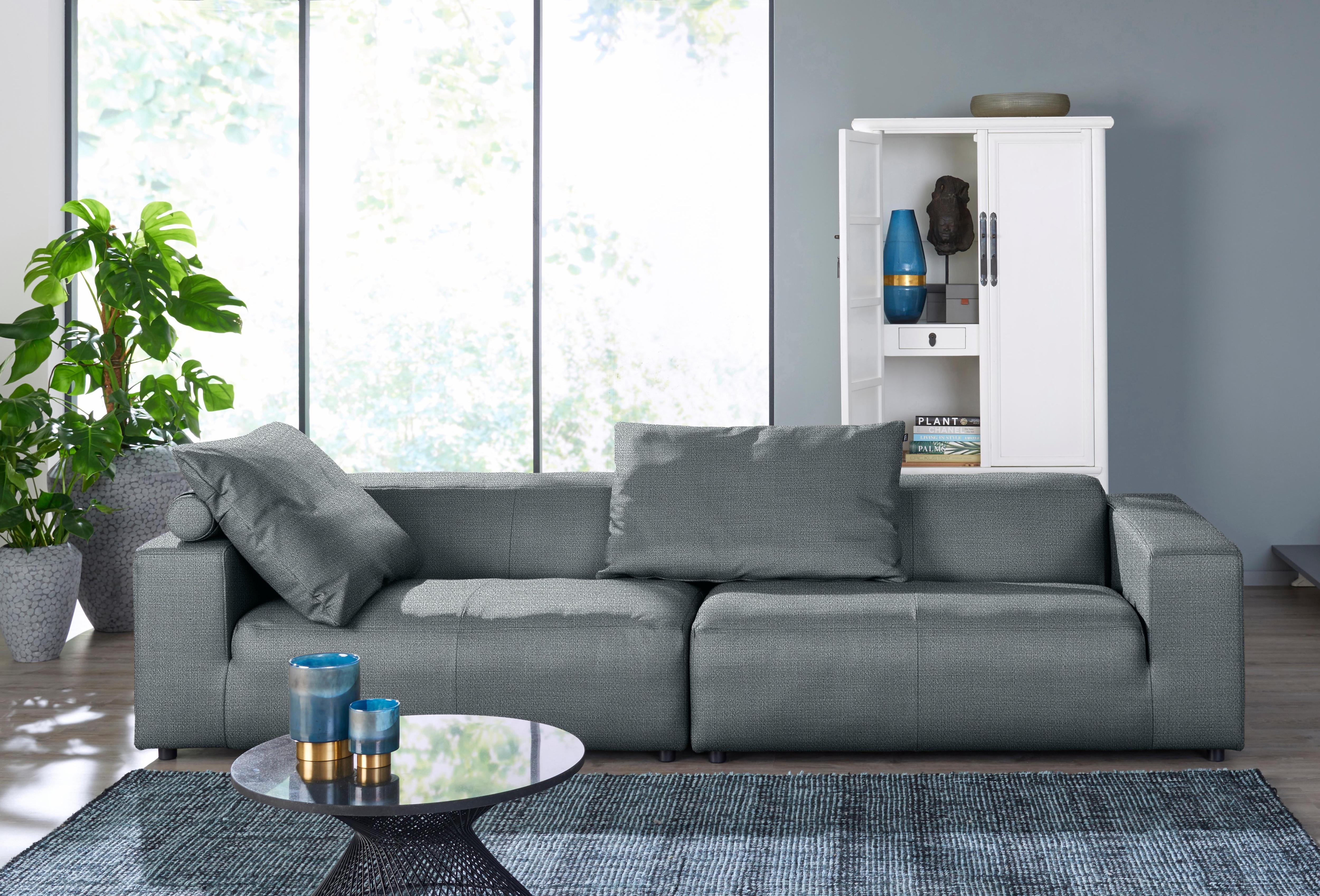 hülsta sofa Big-Sofa 4-Sitzer hs432 mit niedrigem Rücken | Wohnzimmer > Sofas & Couches > Bigsofas | Flachgewebe - Polyester - Leder | Hülsta Sofa