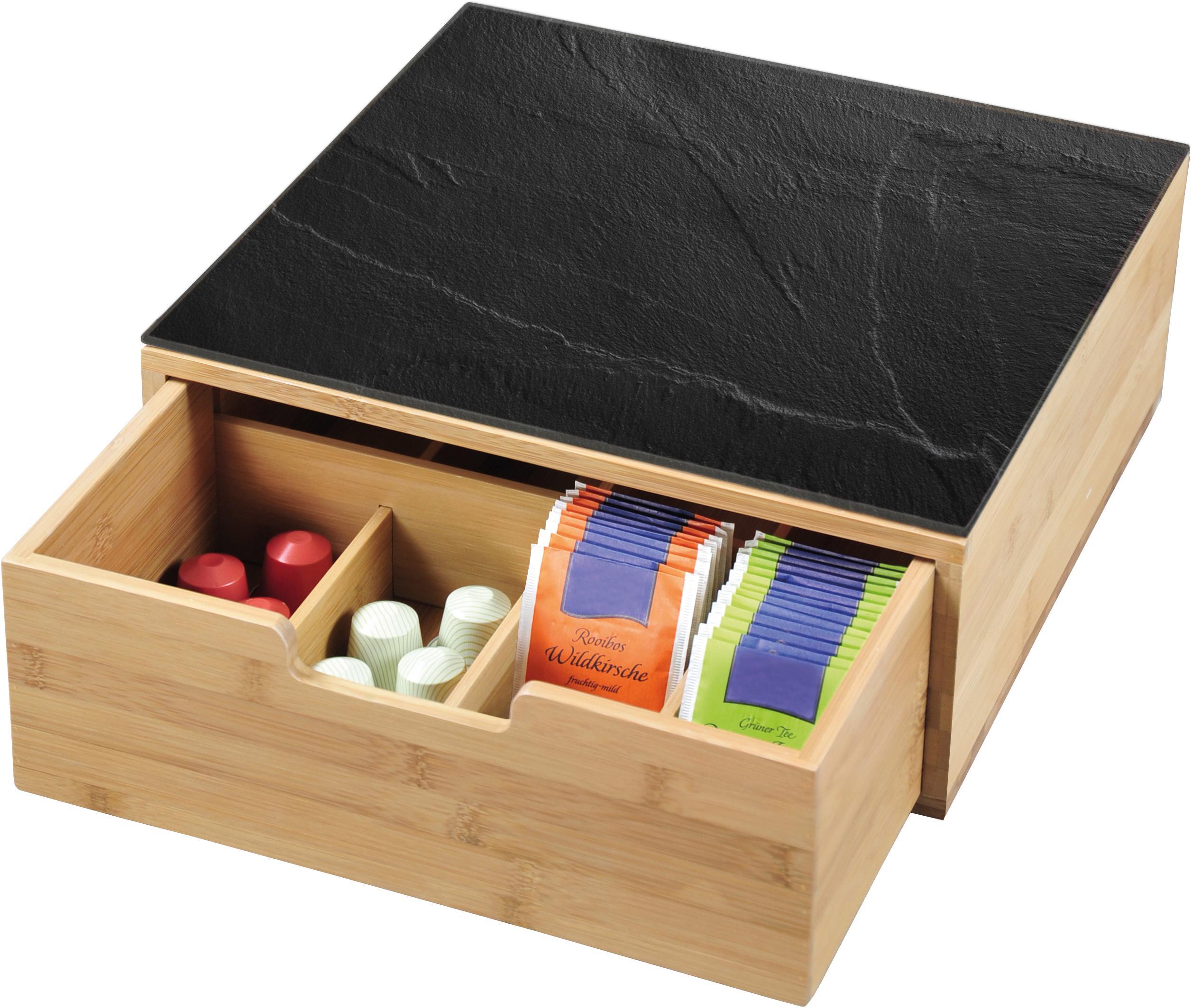 KESPER for kitchen & home Aufbewahrungsbox, (1 tlg.), für Kaffeekapseln oder Teebeutel beige Aufbewahrung Küchenhelfer Haushaltswaren Aufbewahrungsbox