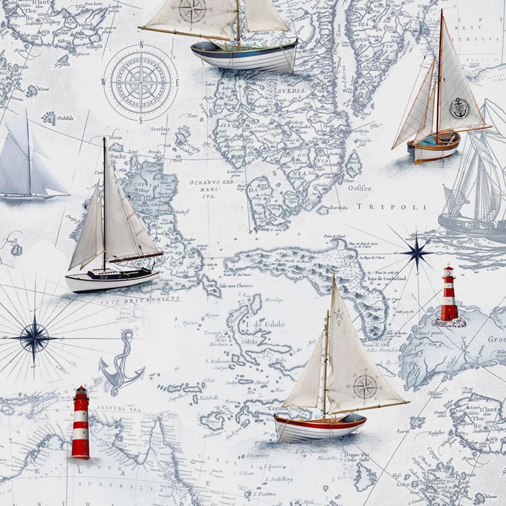 TRAUMSCHLAF Bettwäsche »Segelboot und Leuchtturm«, Satin Bettwäsche mit leichtem Seidenglanz