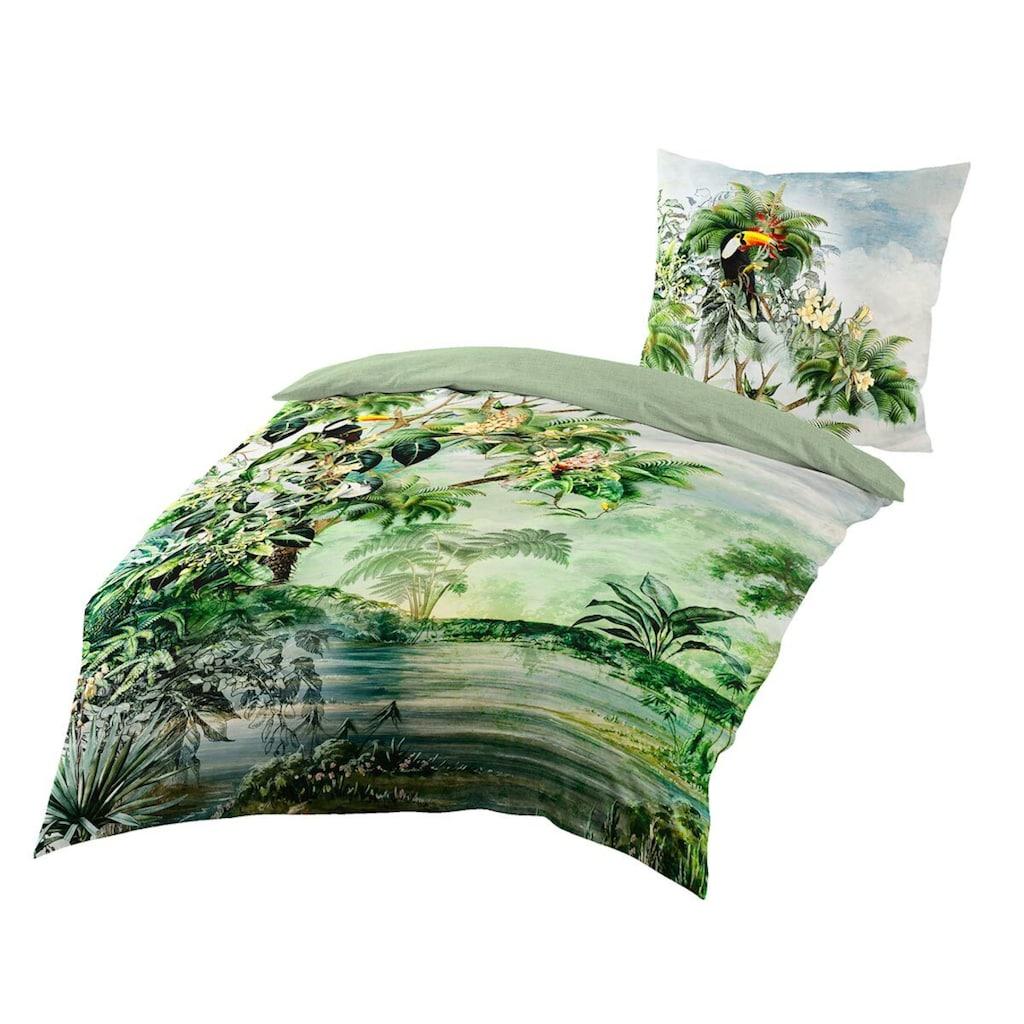 TRAUMSCHLAF Bettwäsche »Wildflowers«, exotisches Design auf Mako-Satin Qualität