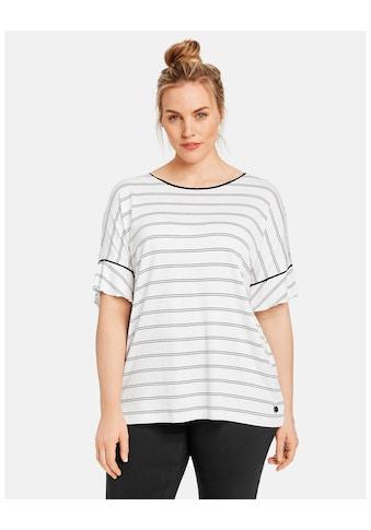 Samoon T - Shirt Kurzarm Rundhals »Ringel - Shirt mit Ärmelvolants« kaufen