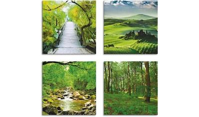 Artland Leinwandbild »Japanische Brücke«, Wiesen & Bäume, (4 St.) kaufen