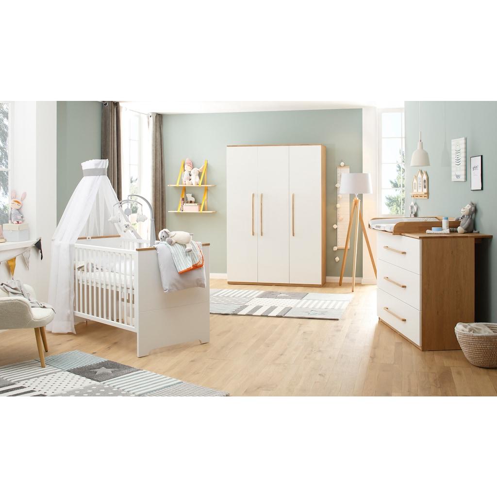 Lüttenhütt Baby Babyzimmer-Komplettset »Lauris, weiß/eiche«, (Set, 3 St.), FSC®-Holz aus gewissenhaft bewirtschafteten Wäldern; mit Kinderbett, Schrank und Wickelkommode
