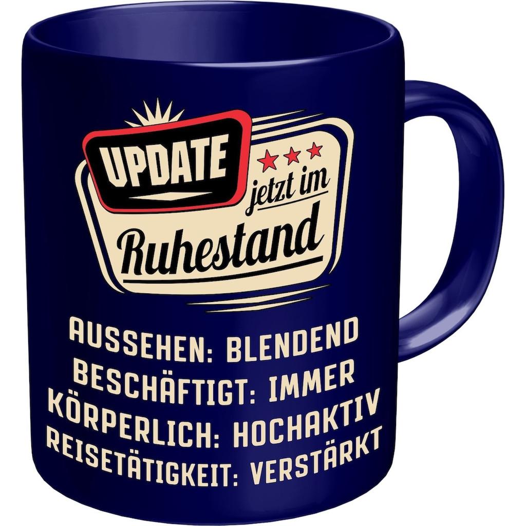 Rahmenlos Kaffeetasse mit lustigem Rentner-Spruch im Geschenkkarton