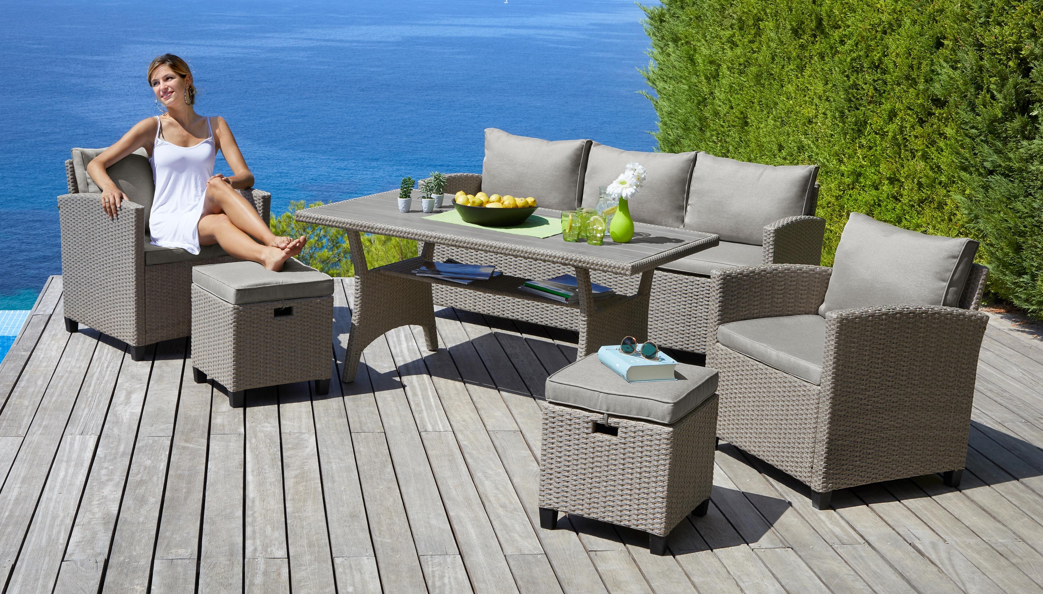 KONIFERA Loungeset Amsterdam 16-tlg 3er Sofa 2 Sessel 2 Hocker Tisch Polyrattan