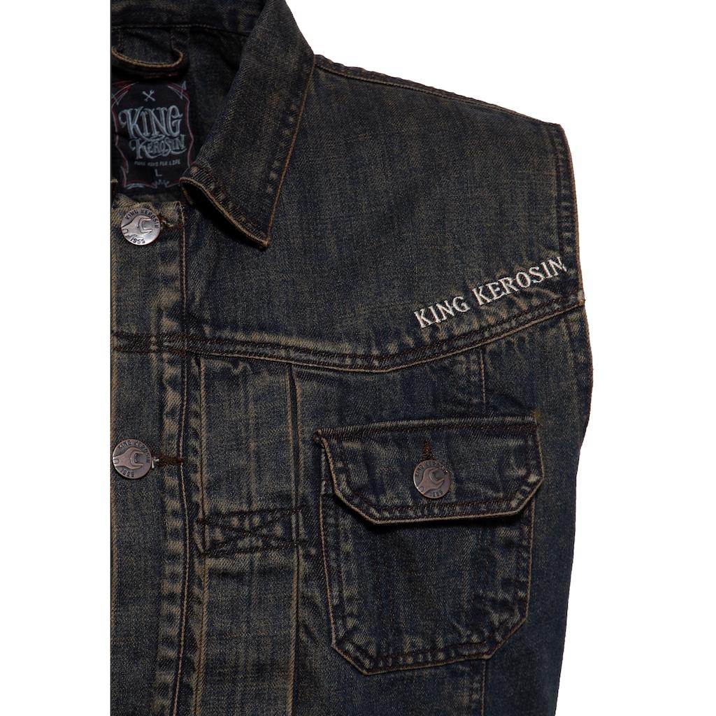 KingKerosin Jeansweste »Motor State«, mit Stickerei und Waschung