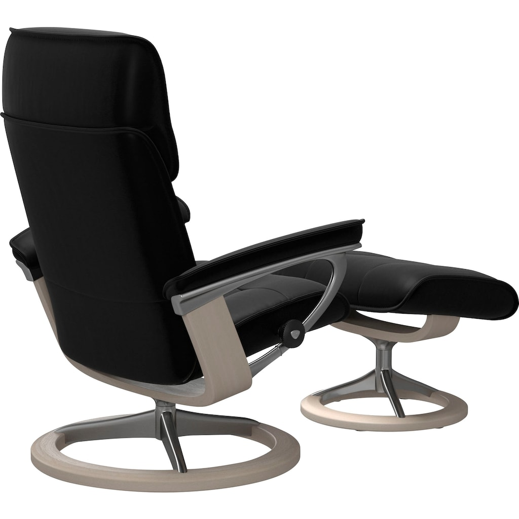 Stressless® Relaxsessel »Admiral«, mit Hocker, mit Signature Base, Größe M & L, Gestell Whitewash