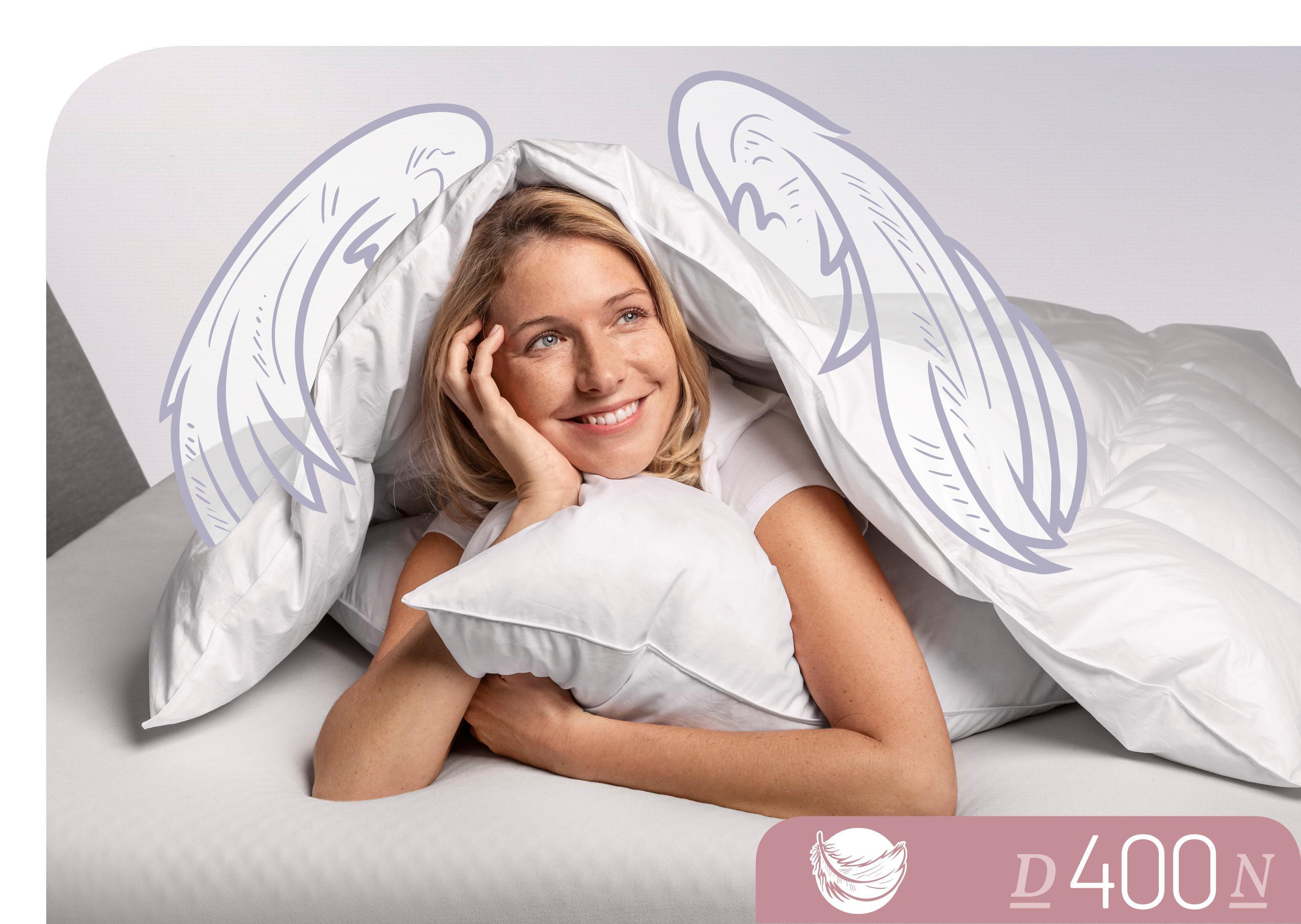 Daunenbettdecke D400 Schlafstil normal Füllung: 90% Daunen 10% Federn Bezug: 100% Baumwolle