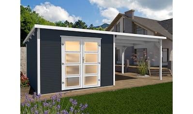WEKA Set: Gartenhaus »wekaLine 1«, BxT: 555x277 cm, mit Anbaudach kaufen