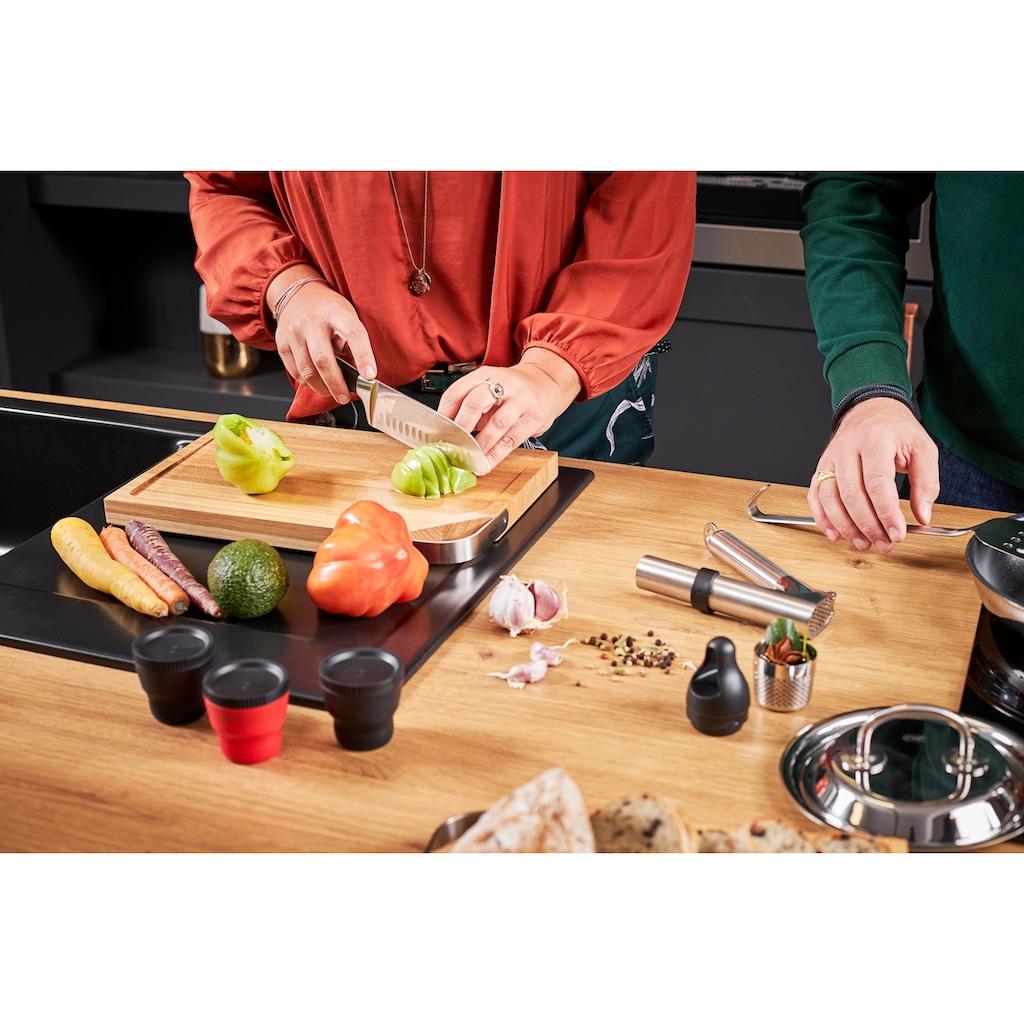 RÖSLE Santokumesser »Tradition«, (1 tlg.), scharfes Küchenmesser zum Schneiden von Fleisch, Fisch, Geflügel und Gemüse, Kullenschliff, Klingenspezialstahl, ergonomischer Griff