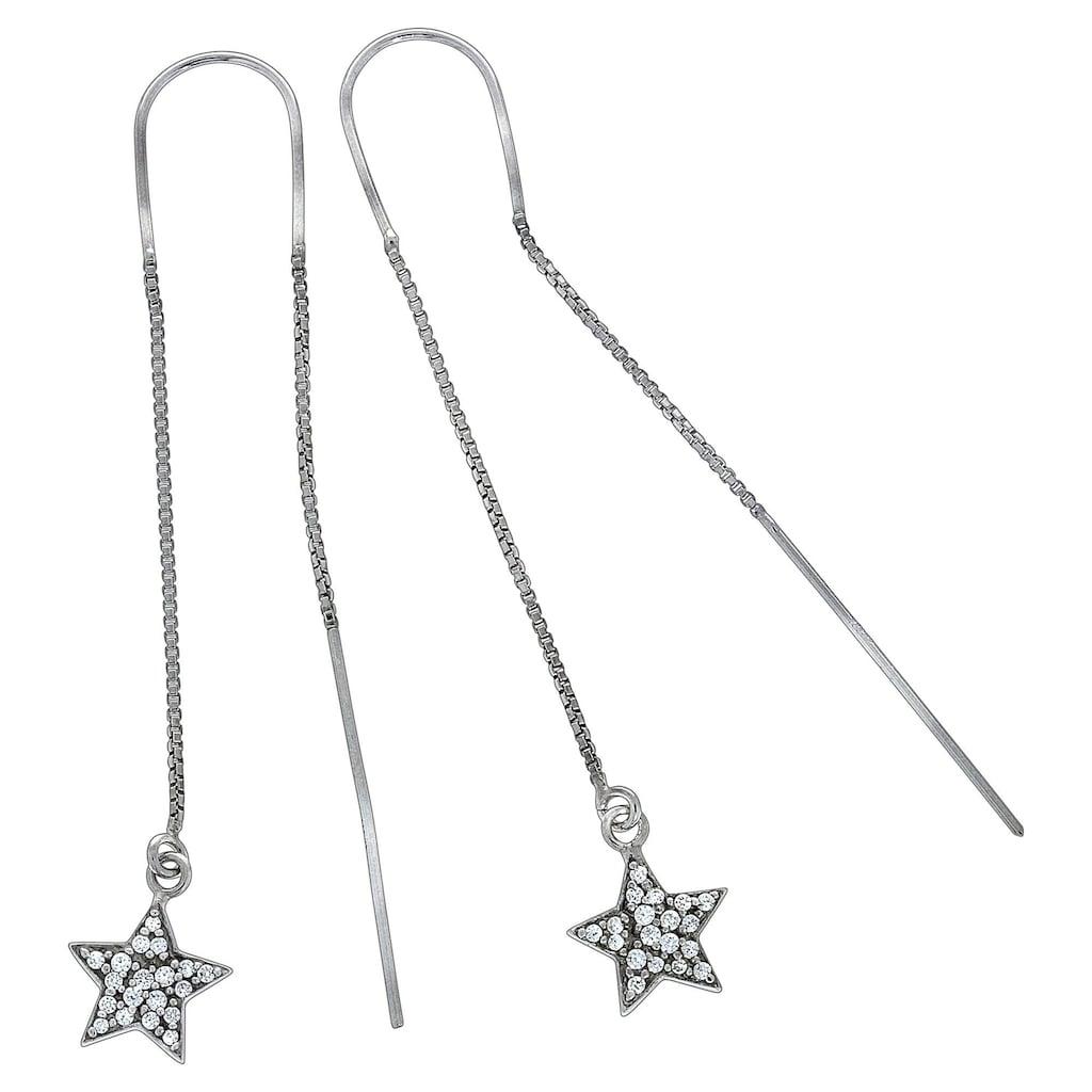 Vivance Paar Ohrhänger »925/- Sterling Silber Sterne«, Durchzieh-Ohrringe