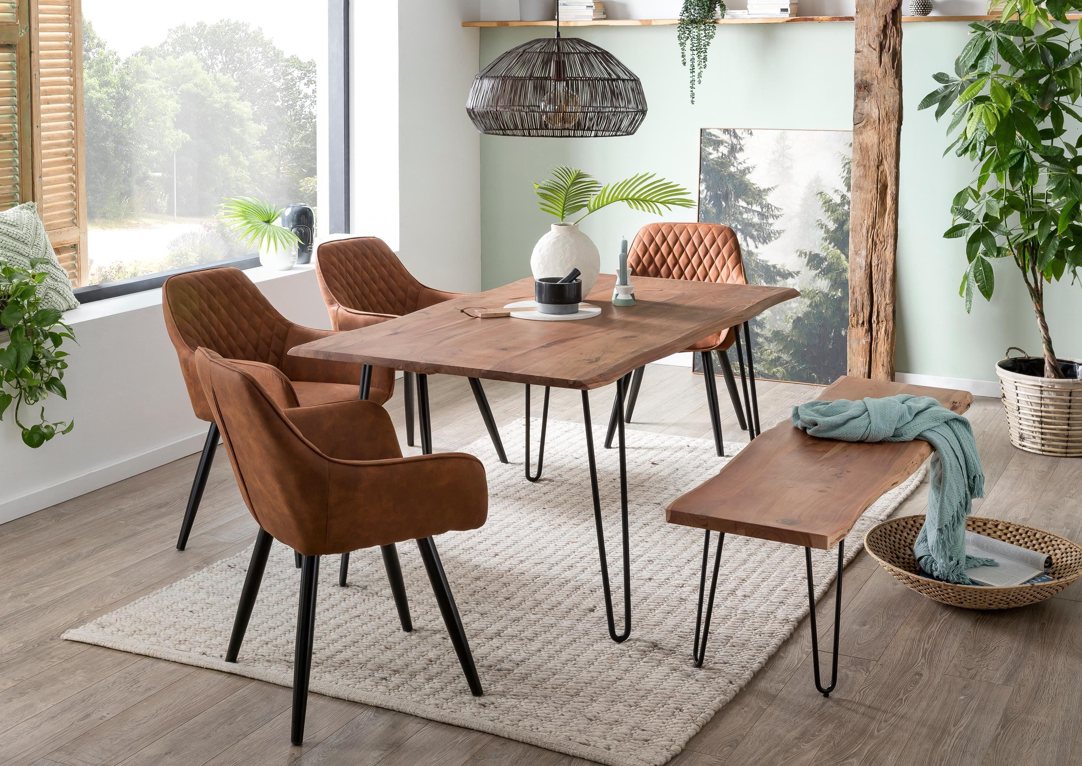 Home affaire Esstisch Soho, mit vollmassiver Akazienholzplatte Baumkante beige Holz-Esstische Holztische Tische