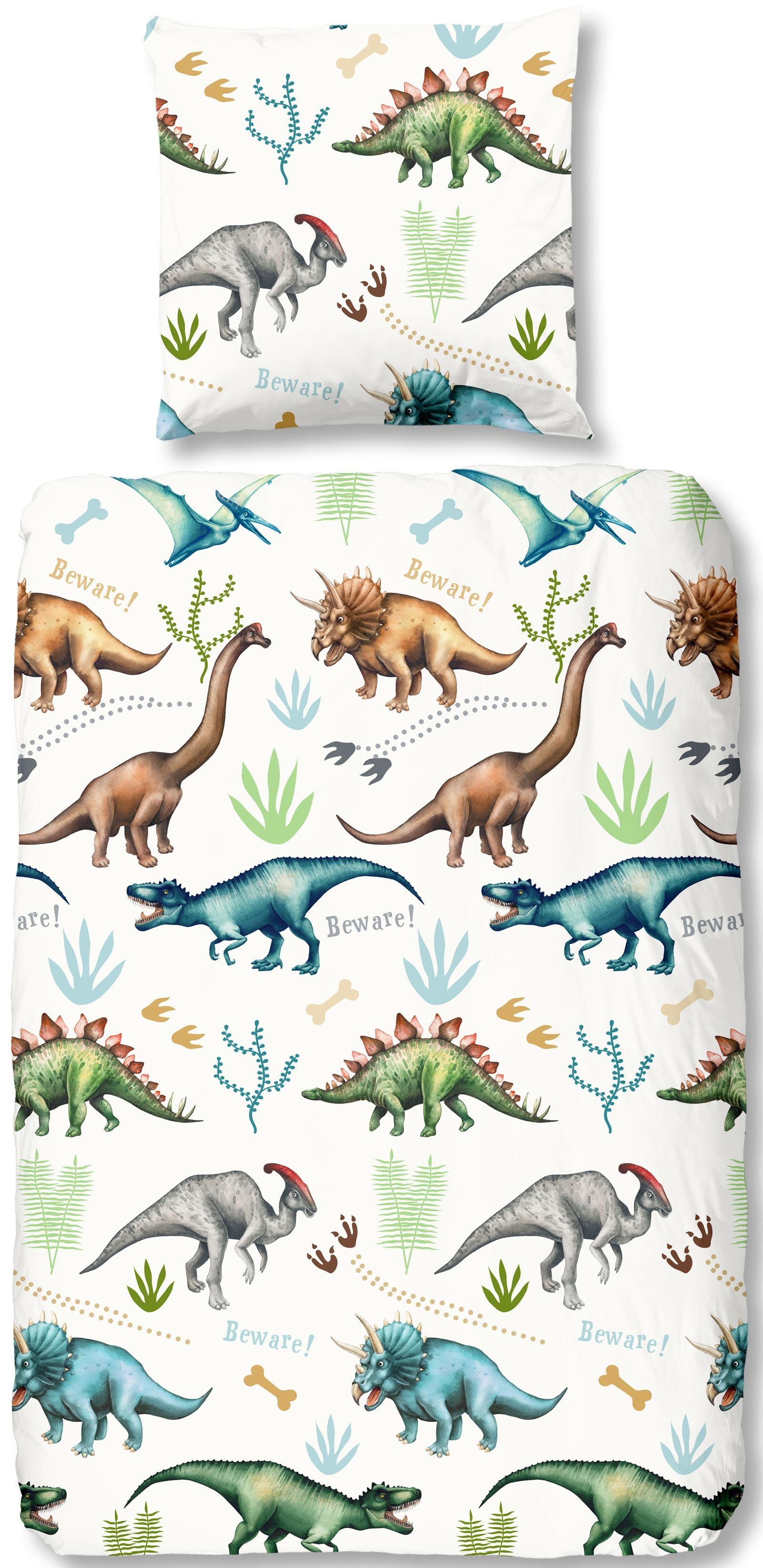 good morning Kinderbettwäsche Dino, mit Dinos weiß Bettwäsche nach Größe Bettwäsche, Bettlaken und Betttücher