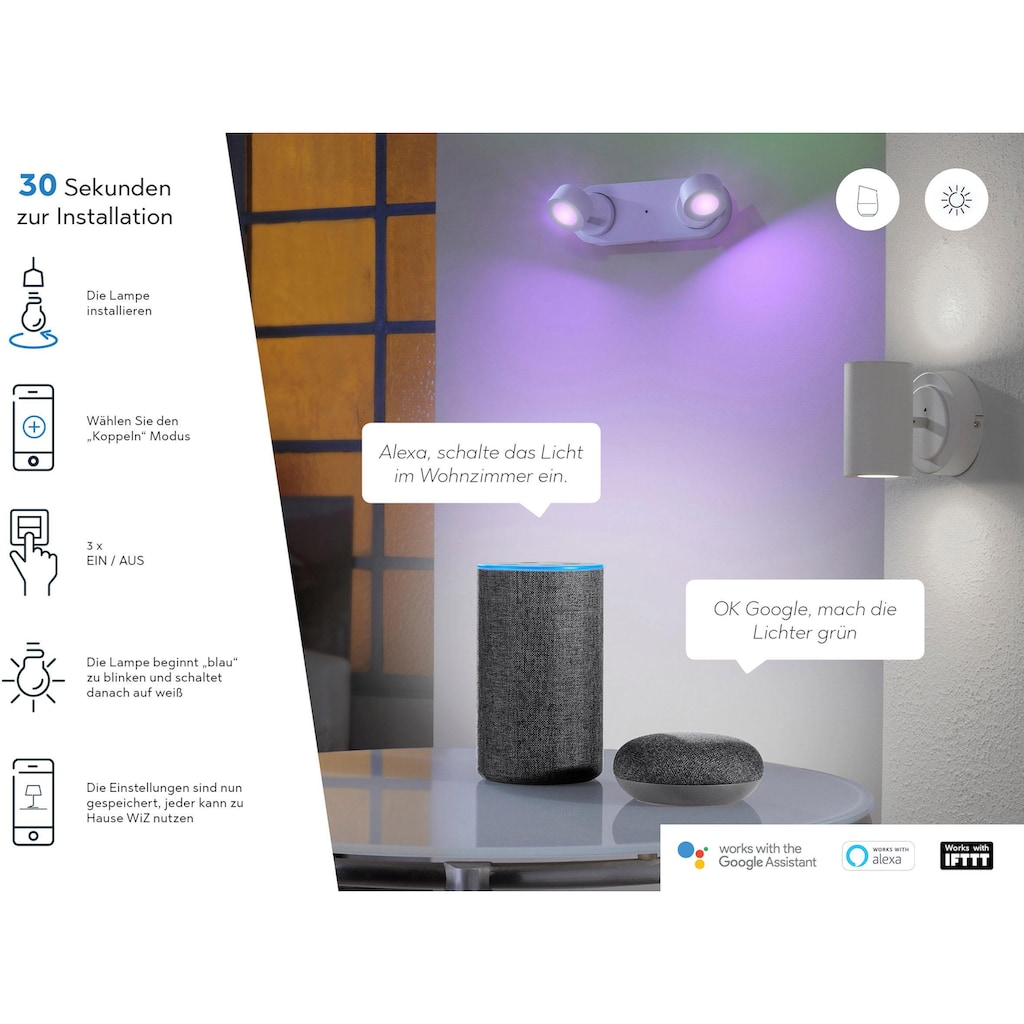 TRIO Leuchten LED Deckenleuchte »DIAMO«, LED-Board, Warmweiß-Neutralweiß, Mit WiZ-Technologie für eine moderne Smart Home Lösung
