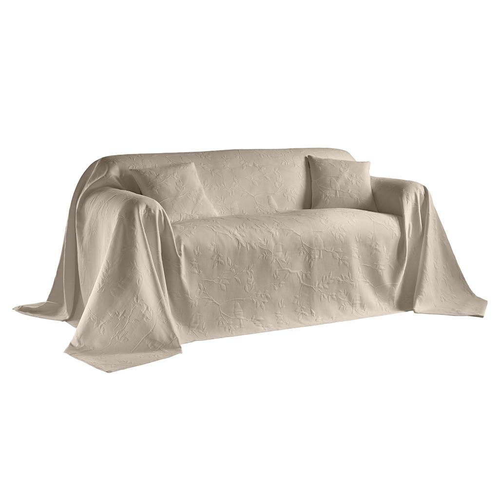 Sofaüberwurf mit Vögel- und Blättermotiv