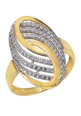 Firetti Goldring »oval, Glanzoptik«, mit Zirkonia kaufen