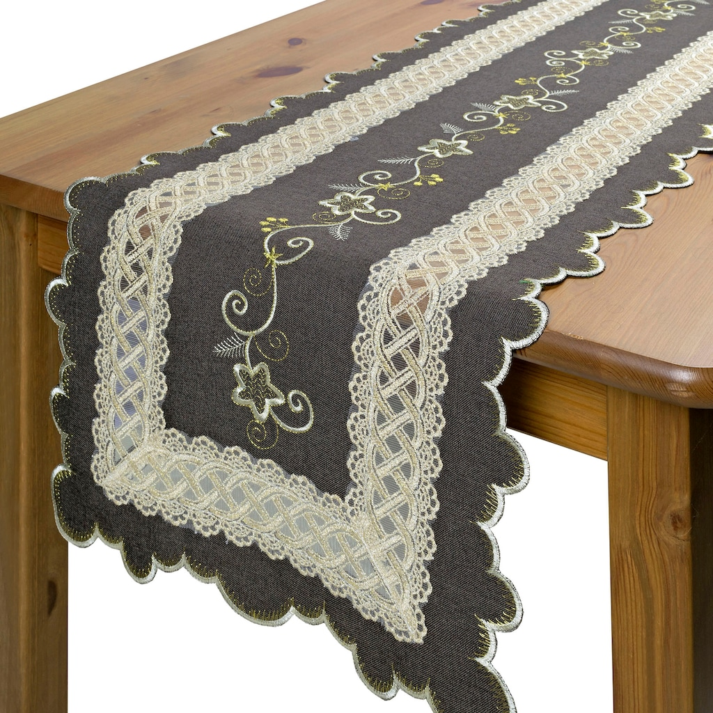 Delindo Lifestyle Tischläufer »Herakles«, Strukturiertes Gewebe, bestickt, 210 g/m²