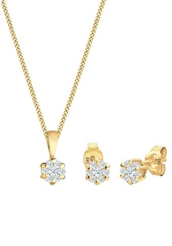 Diamore Ohrring und Ketten Set »Solitär, 0907820815«, mit Diamanten kaufen