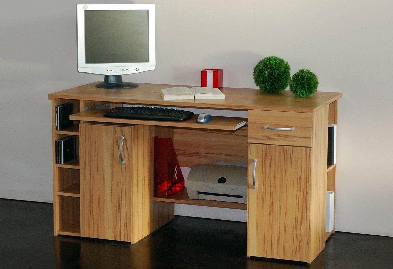 Schreibtisch Tim mit 5 Fächern und Tastaturauszug