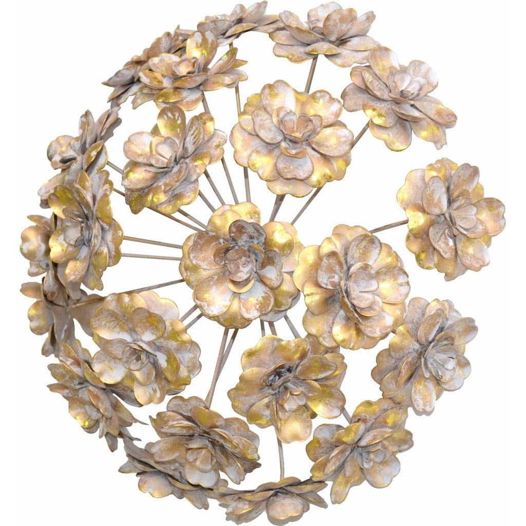 HOFMANN LIVING AND MORE Wanddekoobjekt, Wanddekoration aus Metall, rund, Motiv Blumen