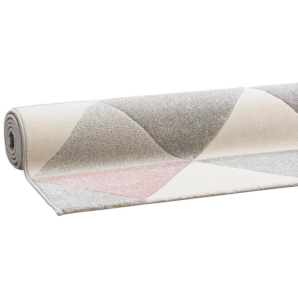 Bruno Banani Teppich »Berlad«, rechteckig, 13 mm Höhe, Handgearbeitet, Konturenschnitt, Wohnzimmer