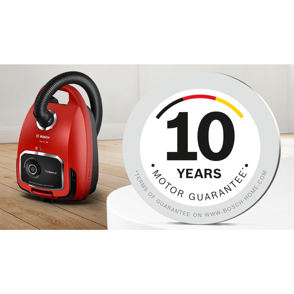 BOSCH Bodenstaubsauger »ProAnimal Serie 6, BGL6TPET, 700 Watt, rot,«, 700 W, mit Beutel, Ideal für Haustierbesitzer