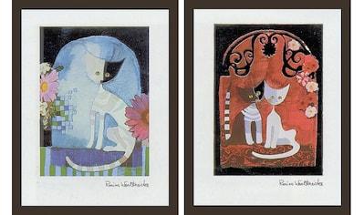 "my home Bild mit Rahmen »""WACHTMEISTER / Katzen I/II«, (Set, 2 St.) kaufen"