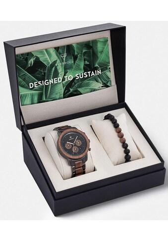 KERBHOLZ Chronograph »Maximilian, XMAS - SET« (Set, 2 tlg., mit Armband Bullet Bracelet Walnut Lava Black) kaufen