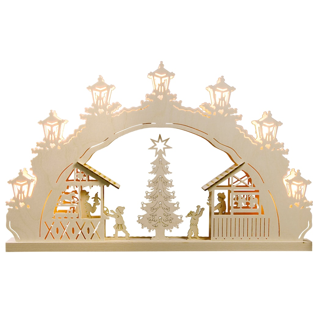 Weigla LED Schwibbogen »Weihnachtsmarkt«, 1 tlg., 7-flammig