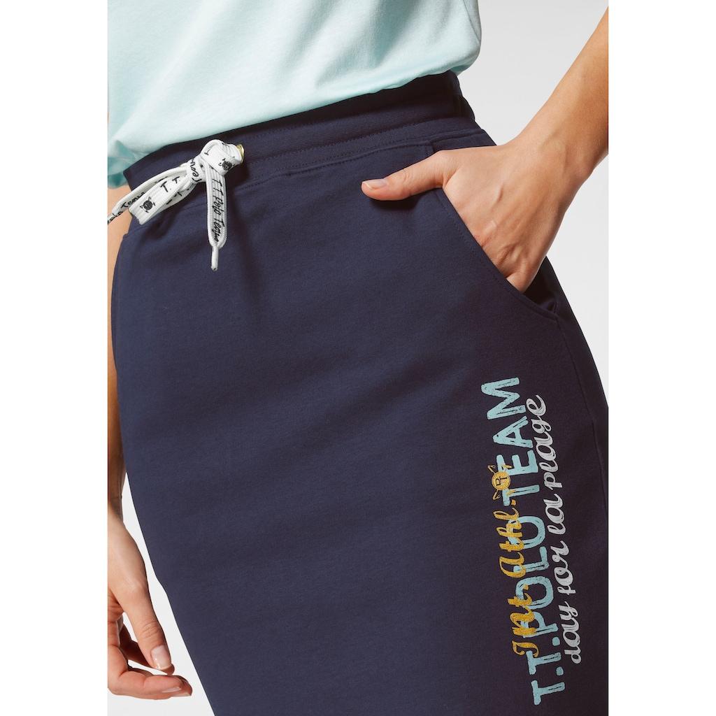 TOM TAILOR Polo Team Sweatrock, mit Logo-Print und Kontrast-Bindeband