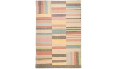 TOM TAILOR Wollteppich »Patch«, rechteckig, 6 mm Höhe, reine Wolle, handgewebt,... kaufen