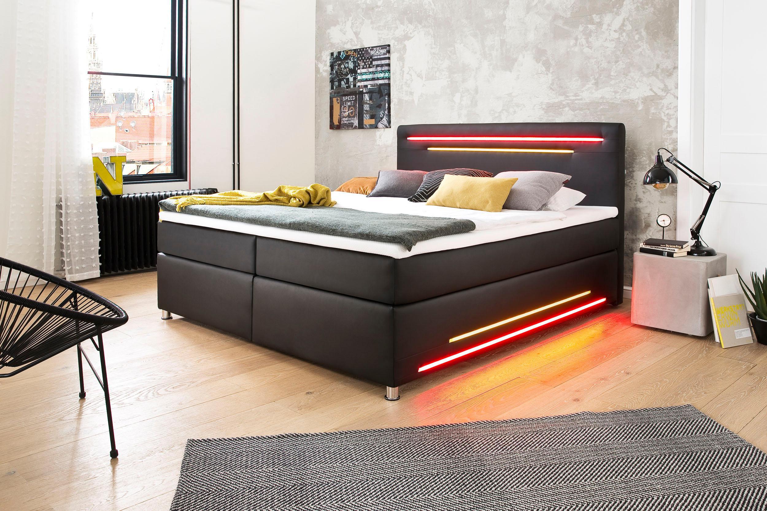 meisemöbel Boxspringbett mit LED-Beleuchtung und Topper
