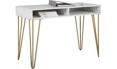 Leonique Schreibtisch »Rivau«, mit einer Marmoroptik Tischplatte, Gestell aus... kaufen