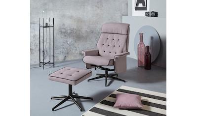 INOSIGN Relaxsessel »Newton«, mit Hocker aus schönem Webstoff, in zwei verschiedenen Farben mit mit schwarzem Drehfußgestell kaufen