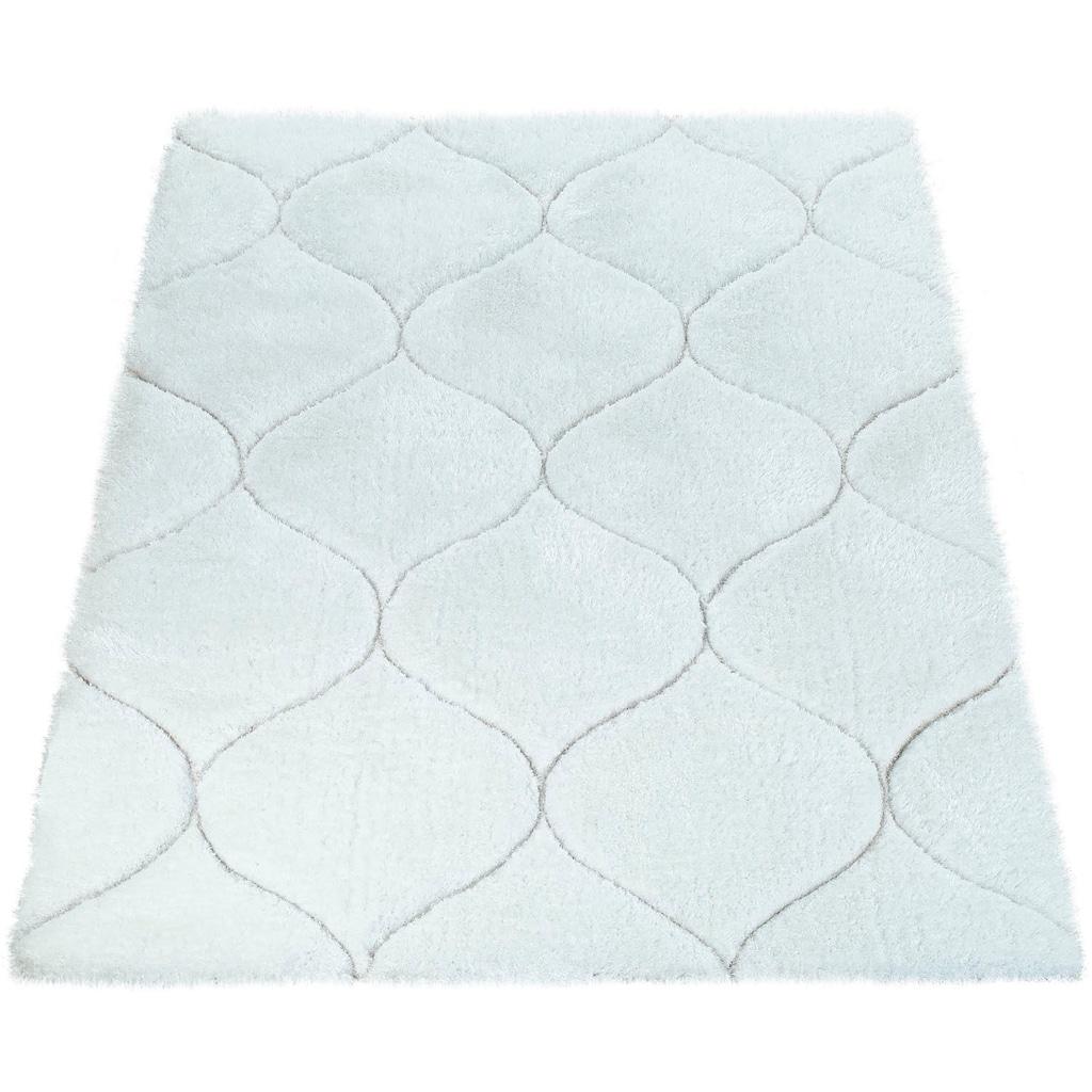 Paco Home Hochflor-Teppich »Palma 333«, rechteckig, 45 mm Höhe, Hochflor-Shaggy mit 3D-Muster, Wohnzimmer