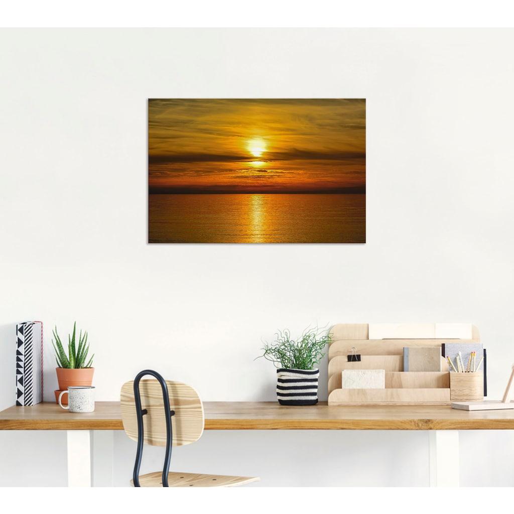 Artland Wandbild »Sonnenuntergang am Meer«, Gewässer, (1 St.), in vielen Größen & Produktarten - Alubild / Outdoorbild für den Außenbereich, Leinwandbild, Poster, Wandaufkleber / Wandtattoo auch für Badezimmer geeignet