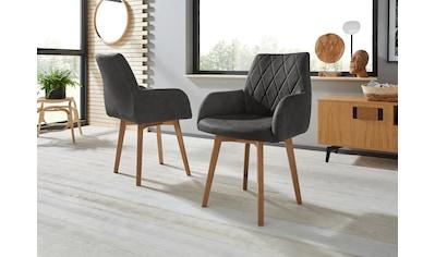 Armlehnstuhl »Brest«, (2 Stück), Bezug in Leder oder Microfaser, Gestell ist Eiche Massivholz geölt kaufen