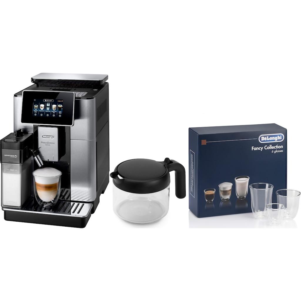 De'Longhi Kaffeevollautomat »PrimaDonna Soul ECAM 610.75.MB mit Kaffeekannenfunktion, silber«, inkl. Kaffeekanne im Wert von UVP € 29,99 +   Gläser-Set im Wert von 46,90 UVP