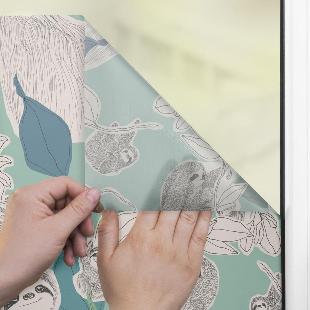 LICHTBLICK ORIGINAL Fensterfolie »Fensterfolie selbstklebend, Sichtschutz, Sloths on turquoise - Grün«, 1 St., blickdicht, glattstatisch haftend
