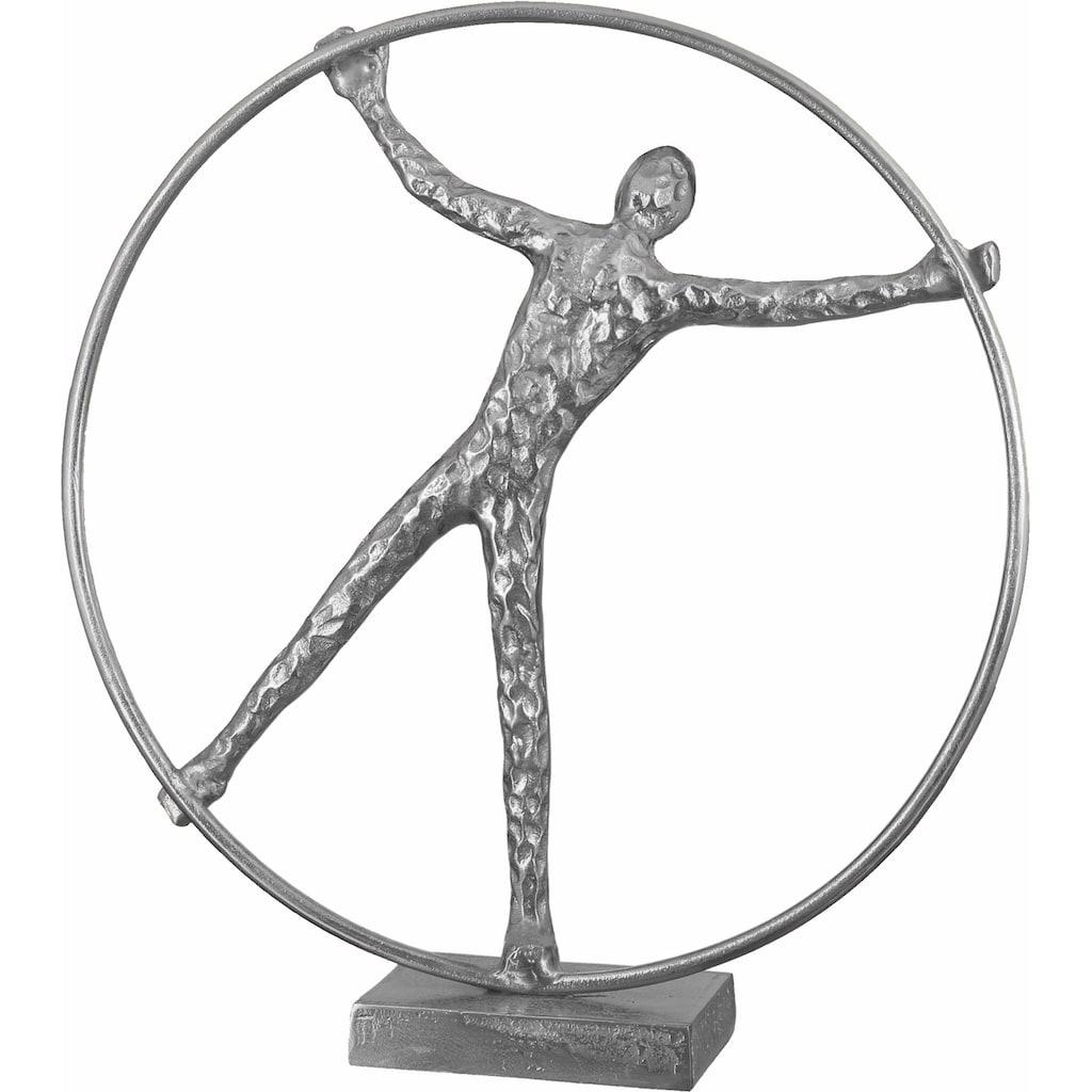 Casablanca by Gilde Dekofigur »Skulptur Gym Wheel, antikfinish«, Dekoobjekt, Höhe 41 cm, aus Aluminium vernickelt, gold- oder silberfarben, Wohnzimmer