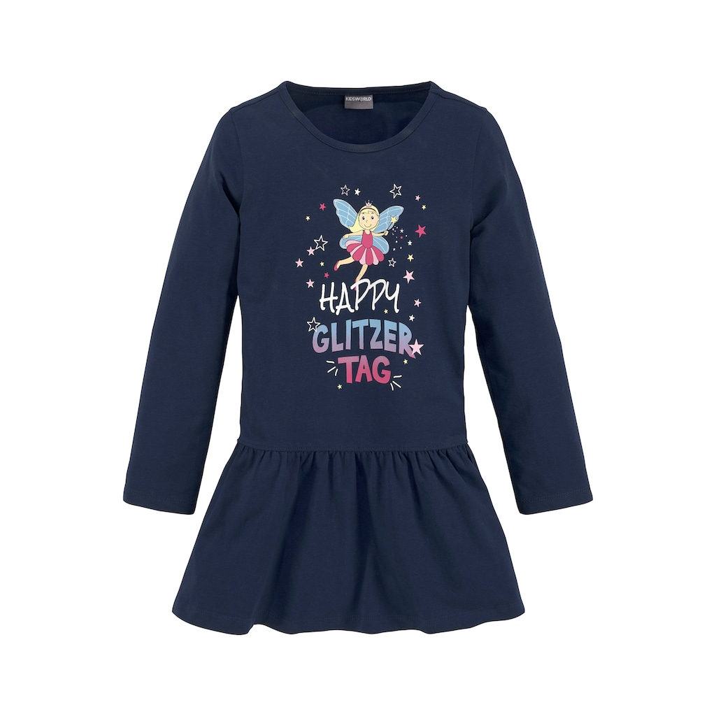 KIDSWORLD Jerseykleid »HAPPY GLITZER TAG«, mit glitzerndem Print