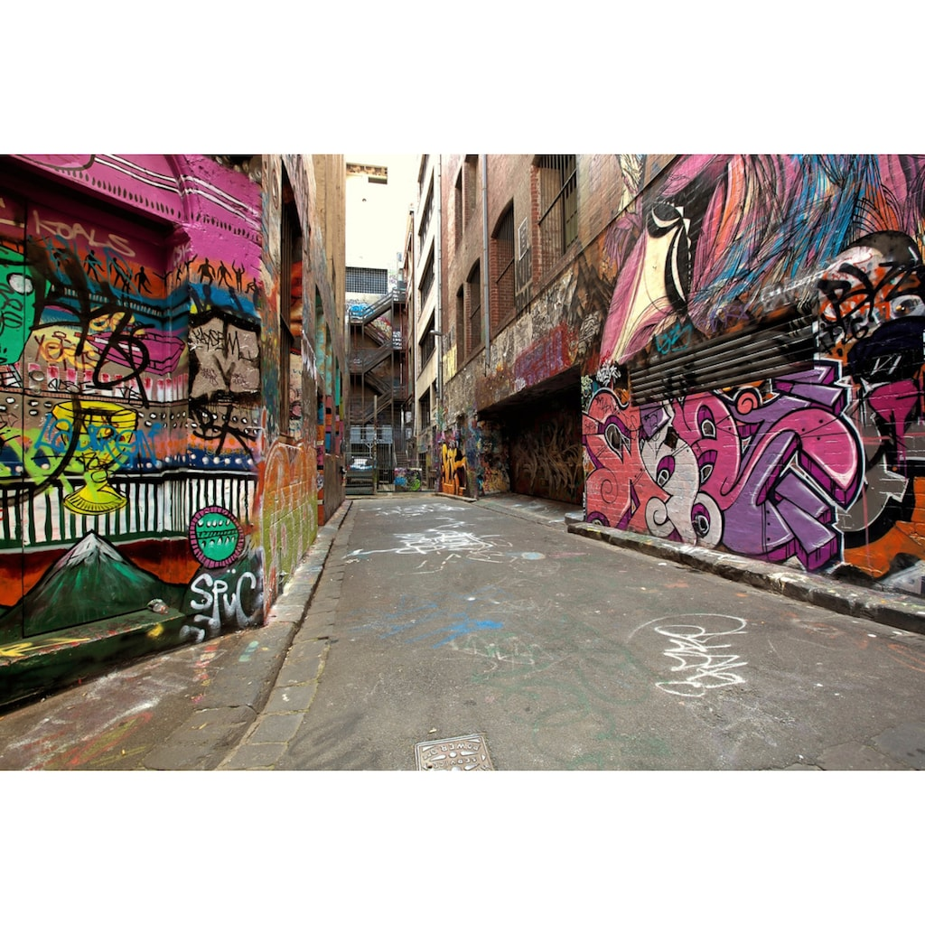Papermoon Fototapete »Graffiti-Gasse«, Vliestapete, hochwertiger Digitaldruck