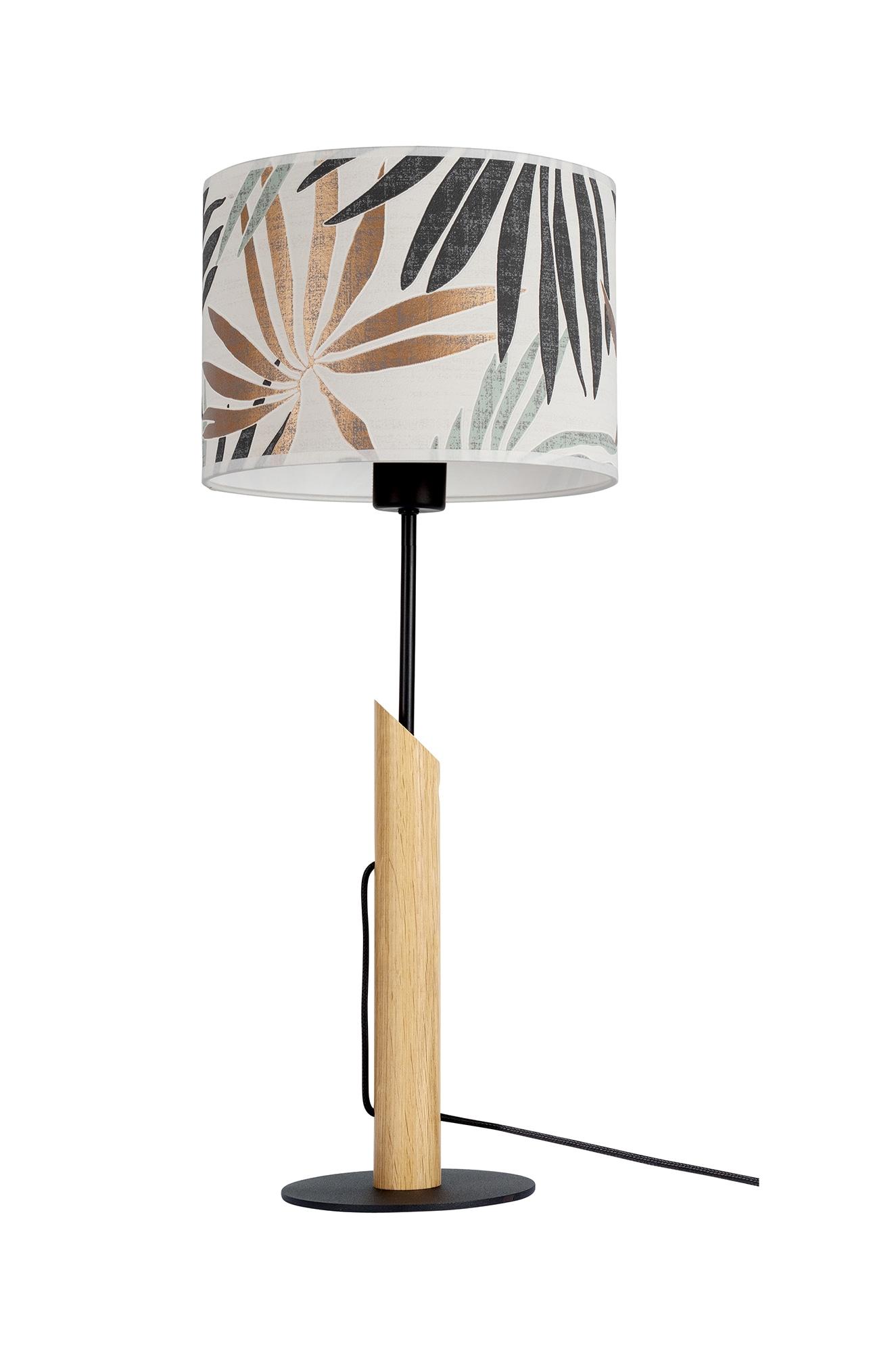 BRITOP LIGHTING Tischleuchte HOJA, E27, Aus Eichenholz mit FSC-Zertifikat, Schirm aus laminierter Tapete, passende LM E27 / exklusive, Made in Europe