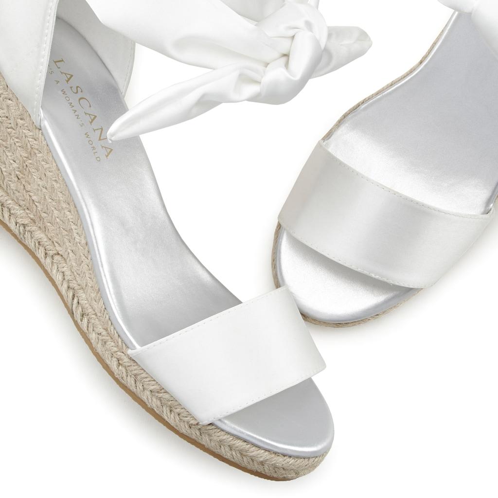 LASCANA Sandalette, mit Keilabsatz in Bast-Optik