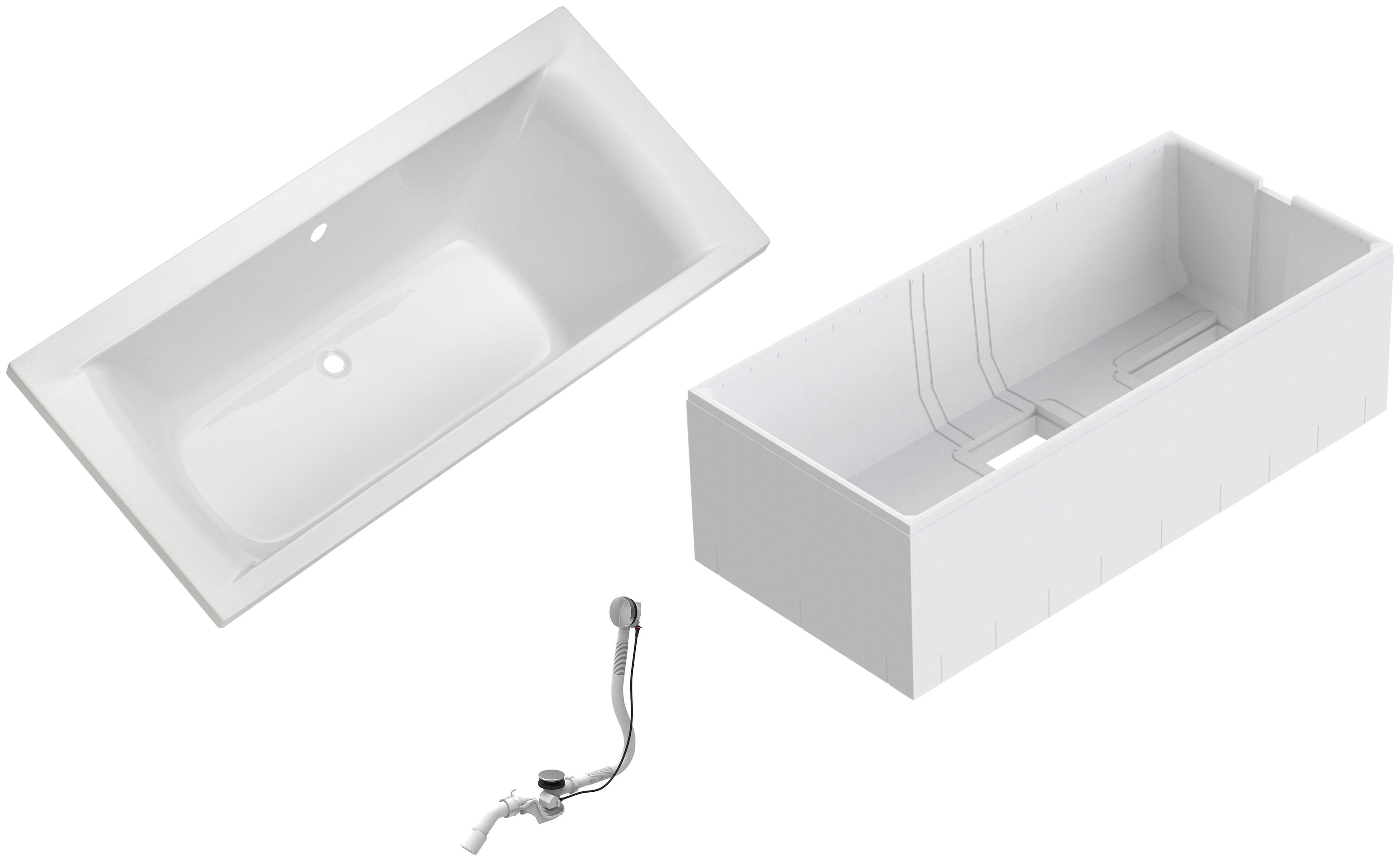 OTTOFOND Badewanne Set Duobadewanne, 1800/800 mm, Duobadewanne weiß Badewannen Whirlpools Bad Sanitär