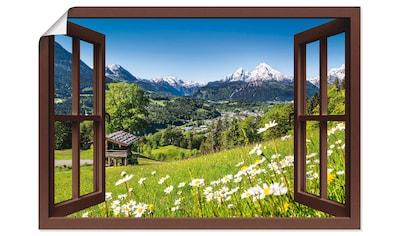 Artland Wandbild »Fensterblick Bayerischen Alpen«, Berge, (1 St.), in vielen Größen &... kaufen